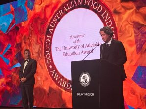 SA Food Awards Education Award 2017 presented by Prof Mike Brooks & Prof Andy Lowe. Sponsored by the University of Adelaide. Awarded to Haighs.