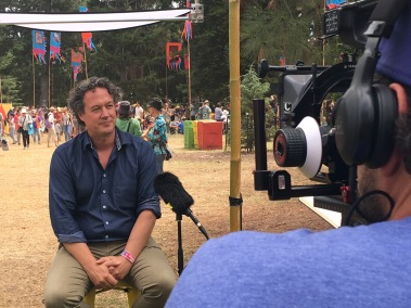 Andy Lowe being interviewed by RiAus TV at WOMADelaide Planet Talks 2019